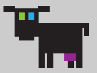 trendy pixelated cow icon