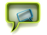 green and blue speech dialogue bubbles on white