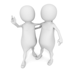 3d small person man hugging friend or partner