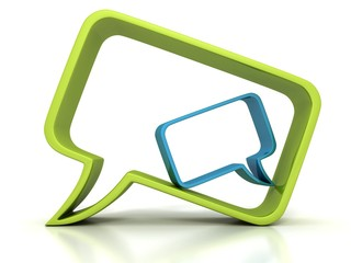 two concept speech bubbles green and blue dialogue icon