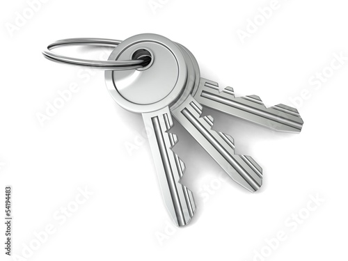 bunch of door keys on white background