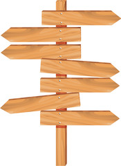 many blank wooden left right direction arrows