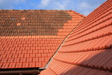 Gable roof covered with red ceramic roofing