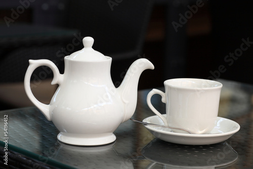 White teapot and teacup
