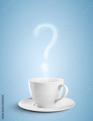 cup of coffee with question mark fume