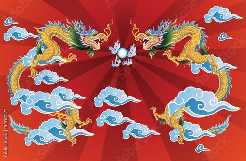2 dragons and crystal ball - 54197271