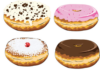 set of colorful donuts