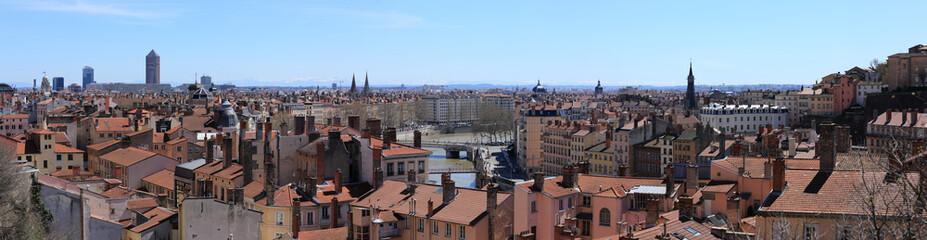 panorama en vue aérienne de la ville de lyon
