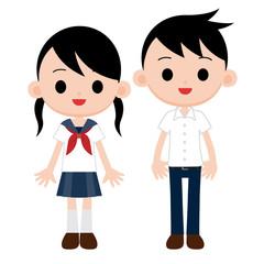 黒髪・紺色の制服の学生 夏服