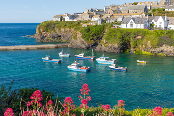 Boats in the harbour Port Isaac Cornwall England UK