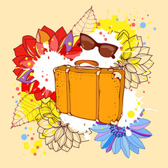 Vector illustration background  holiday travel, beach, summer