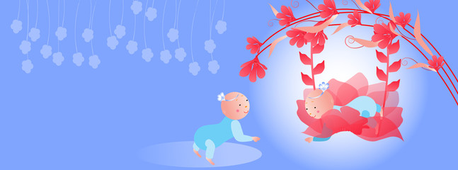 Timeline cover.Baby on a swing