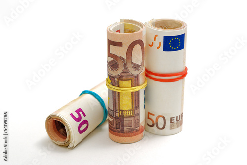 Three rolls of 50 euro bills