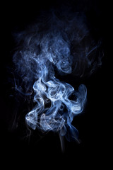 Smoke isolated on black background.