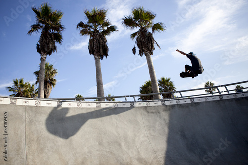 Skater in the skate park in Venice Beach