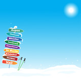 Ski trip illustration with famous ski destinations
