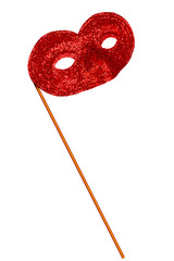 Simple red glitter fancy dress or carnical mask - isolated