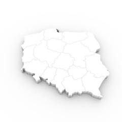 Poland map white with states and clipping path
