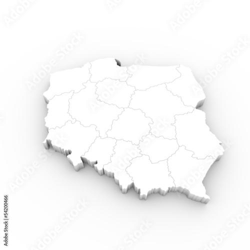canvas print picture Poland map white with states and clipping path