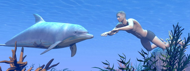 Dolphin and man swimming - 3D render