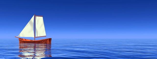 Peaceful sailboat - 3D render