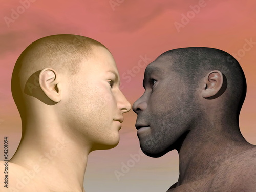 Modern human and homo erectus - 3D render