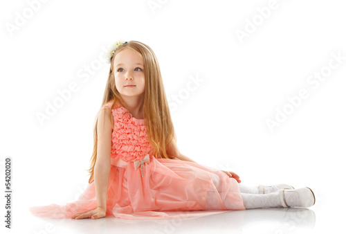 Pretty little girl posing in smart pink dress
