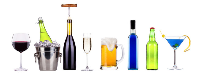 red wine, champagne, beer, alcohol cocktail