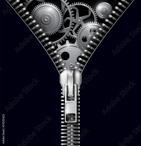 Abstract background zipper with gears