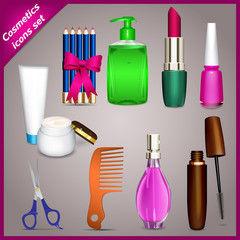 Set of nine detailed color icons on cosmetics
