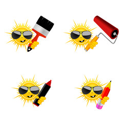 sun with accessories for paint job vector illustration