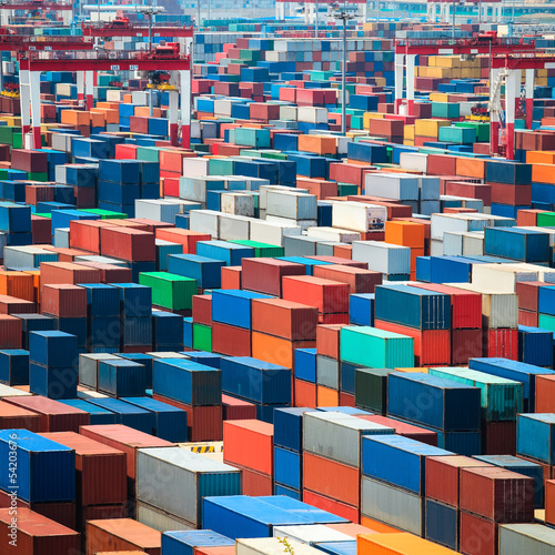shipping containers in port - 54203676