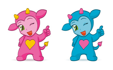 Cartoon chibi imps