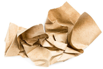 Recycle beige natural  crumpled vintage paper on white backgroun