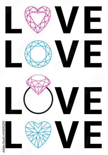 diamond love, vector