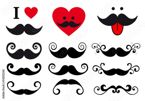curly mustaches design set, vector