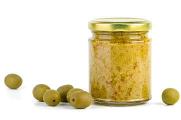 Glass jar with olive spread
