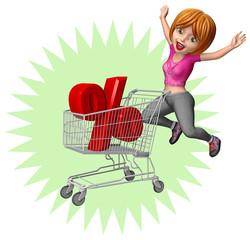 Frau mit Einkaufswagen auf Shopping-Tour