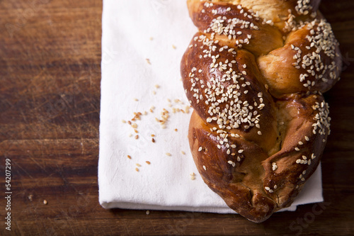 Fotobehang Kruidenierswinkel One challah loaf for shabbat
