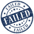 failed blue round vintage isolated rubber stamp