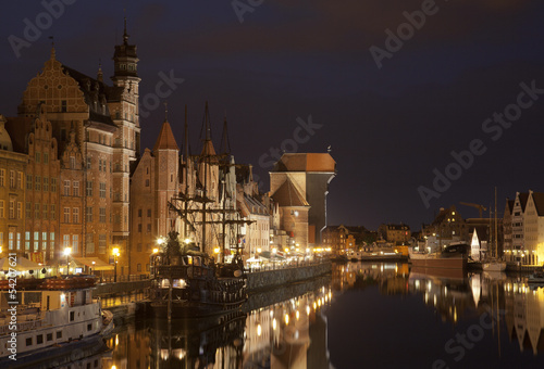 The medieval port crane in Gdansk at night, Poland