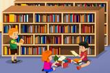 Fototapety Kids reading a book