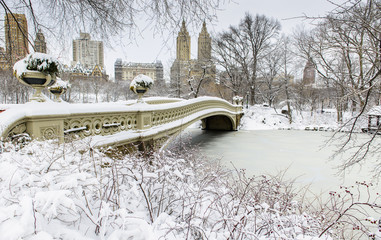 Bow Bridge and Central Park on a beautiful snow day