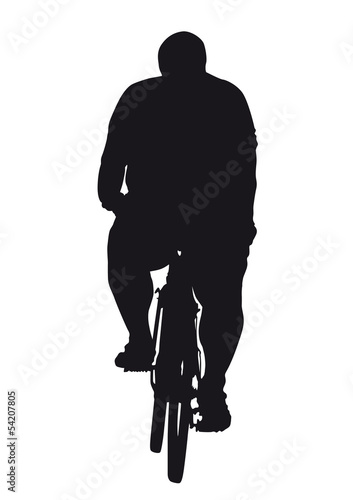 Obese cyclist on bike
