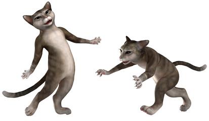 Zwei Katzen in verschiedenen Posen 02