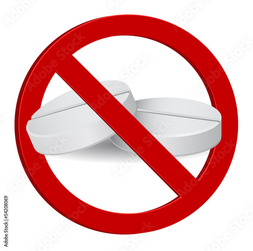 no drug - stop pill 3d sign
