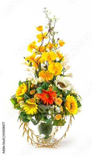 Bouquet of sunflower and vanda in glass vase