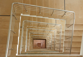 Indoor stairway in square spiral