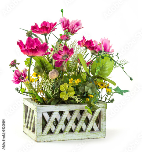 Cosmos flower in wood basket