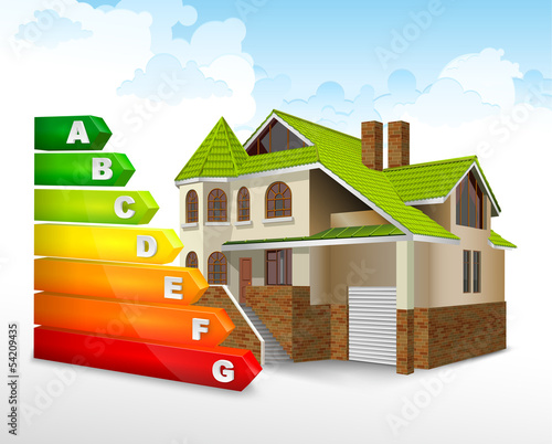 Energy efficiency rating color with big house, vector
